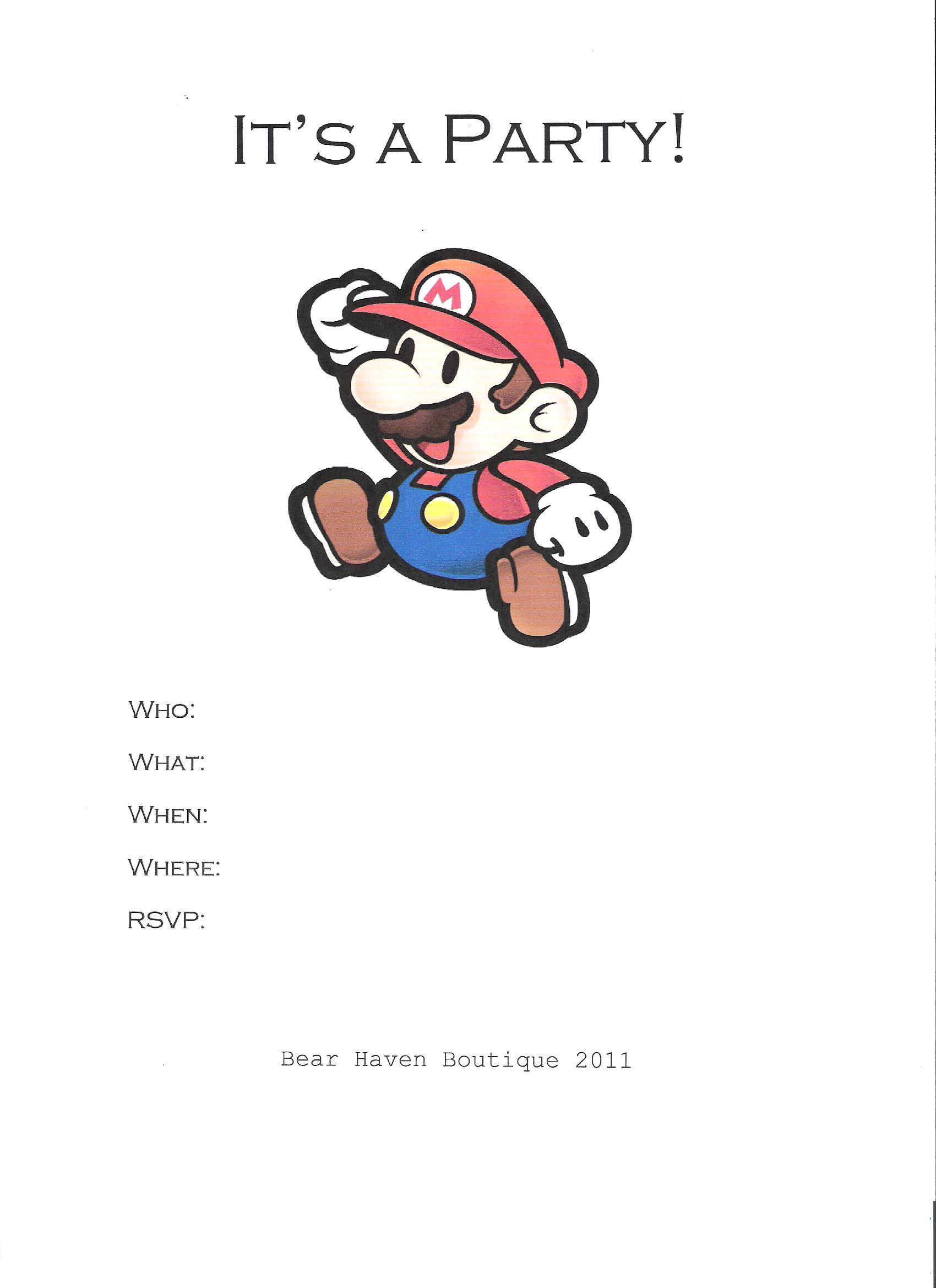 Super Mario Birthday Party – Mario Party Invites