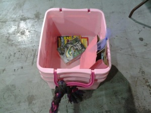 bring something to put your stuff in. I fashioned mine from an old scarf and a laundry tub