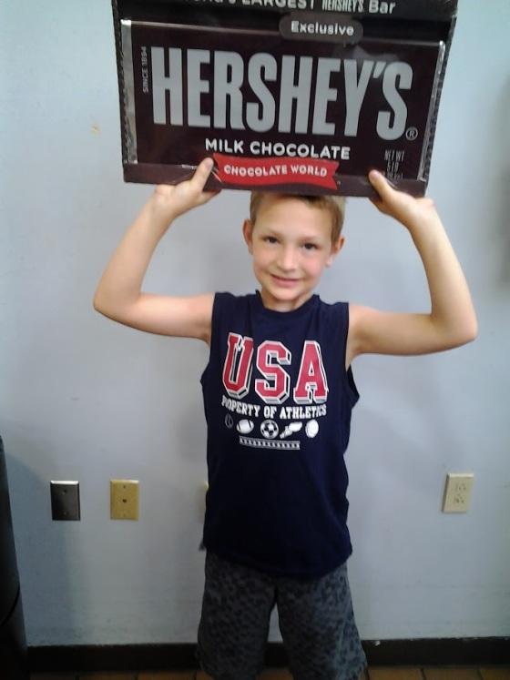 Benchpressing a chocolate bar
