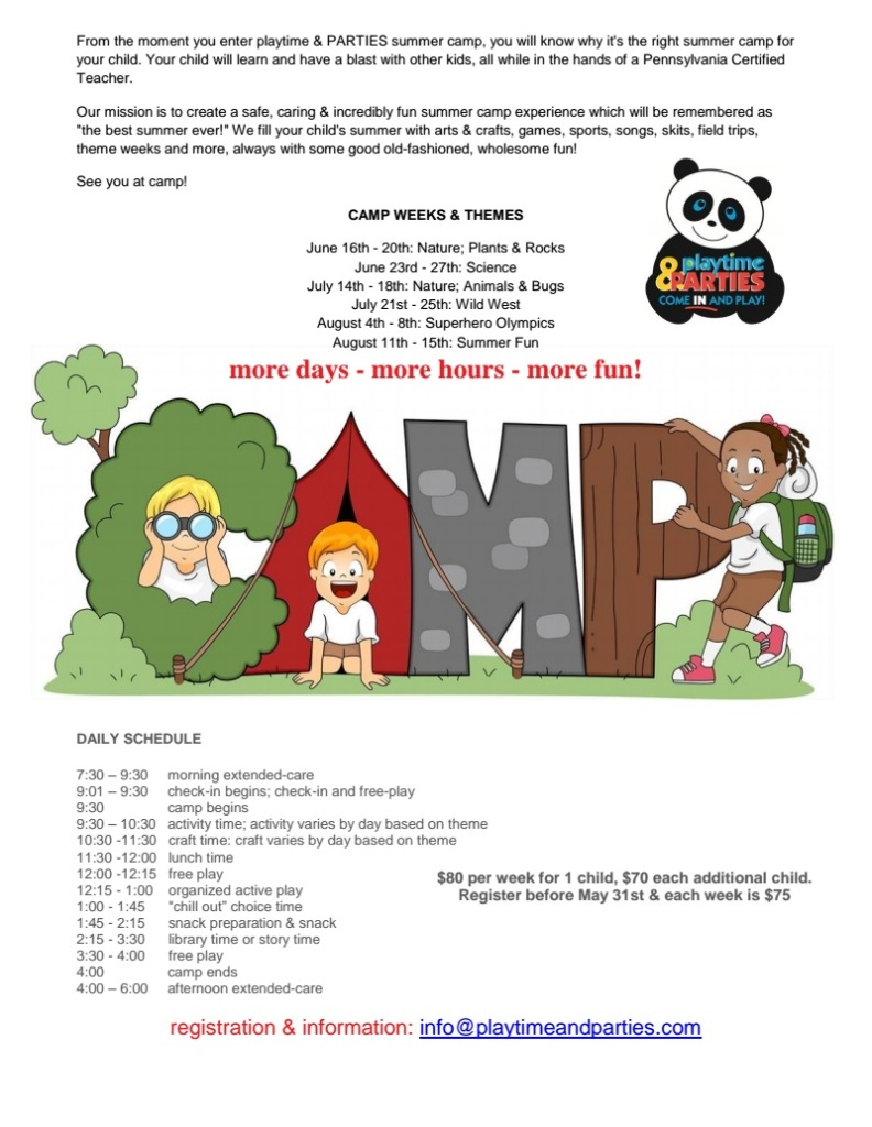 playtime summer camp schedule