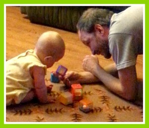 Sweet Pea loves playing blocks with Daddy!